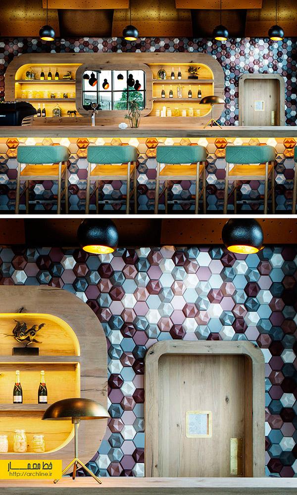 استفاده از تایل های بتنی سه بعدی رنگی در طراحی و دکور کافه