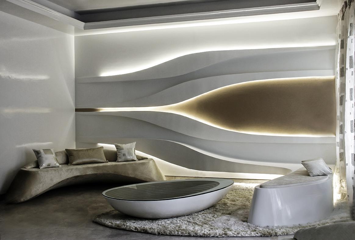 طرح مواج یک اتاق نشیمن در دهلی