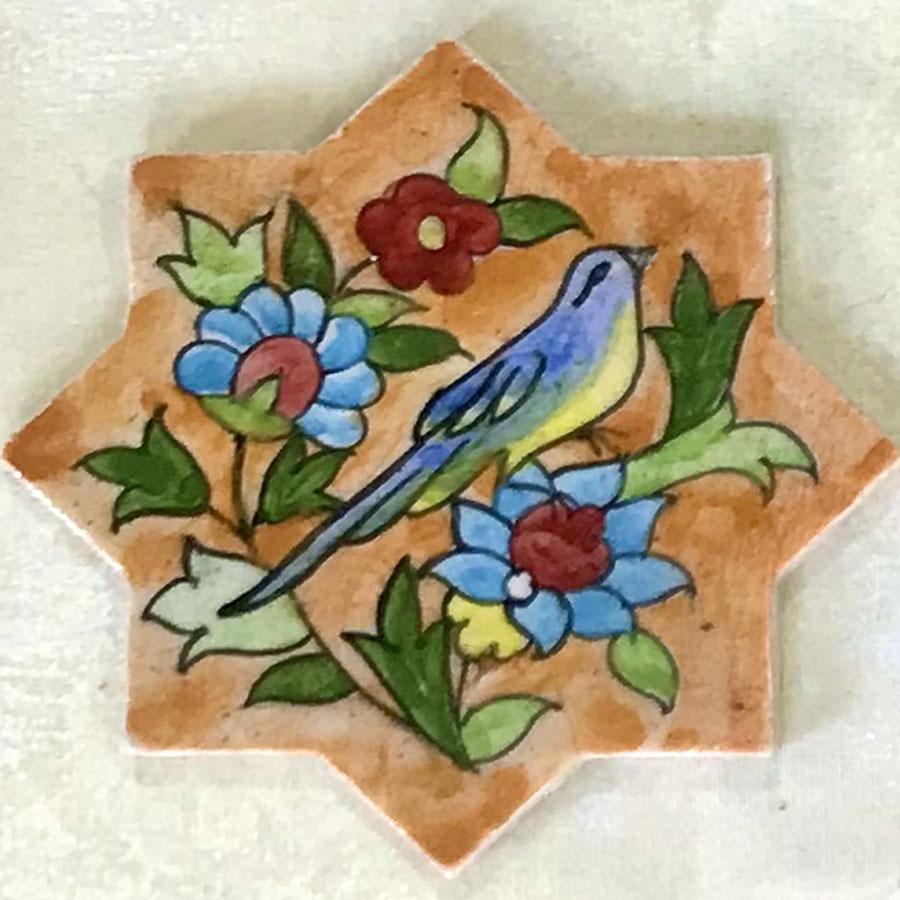 کاشی سنتی شمسه گل و مرغ کوچک سفالینه آبی و سفید