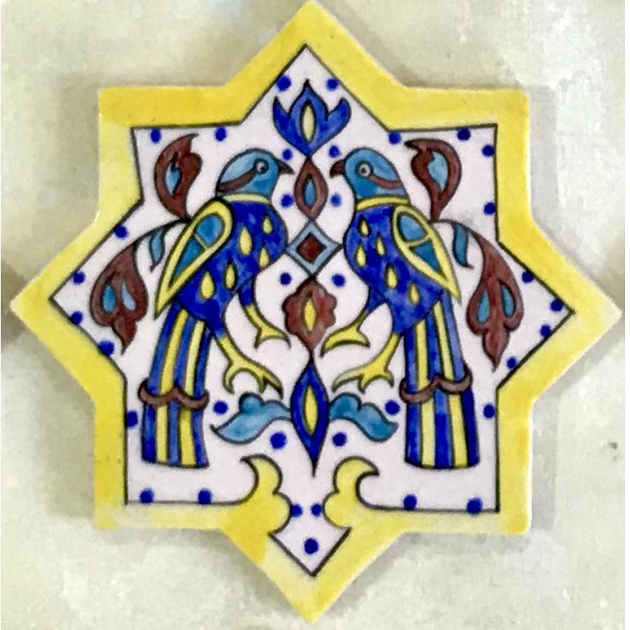 کاشی سنتی شمسه پرنده موزه ای بزرگ سفالینه آبی و سفید